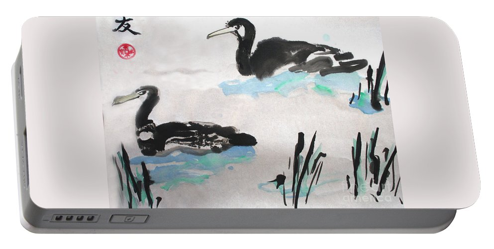 Sumi Ink Portable Battery Charger featuring the painting Ducks In The Willows by Lisa Baack
