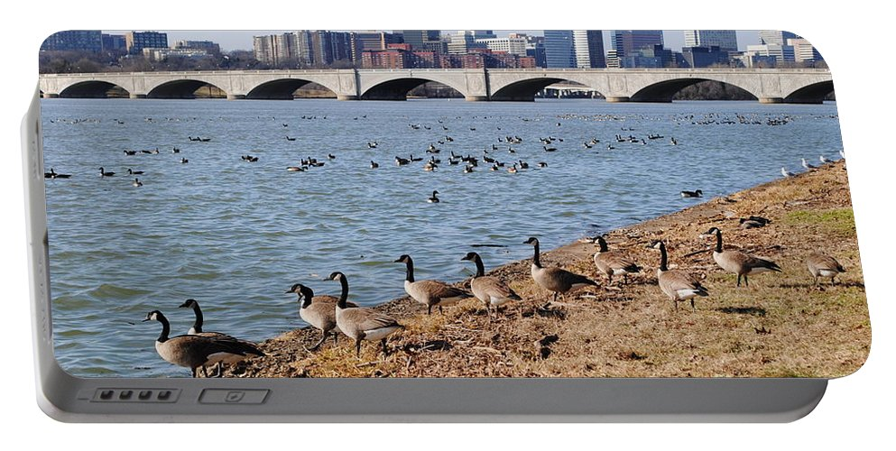 Washington Portable Battery Charger featuring the photograph Ducks Of The Potomac by Jost Houk