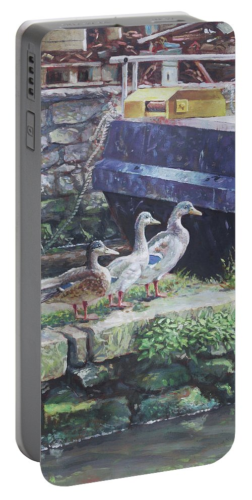 Ducks Portable Battery Charger featuring the painting Ducks On Dockside by Martin Davey
