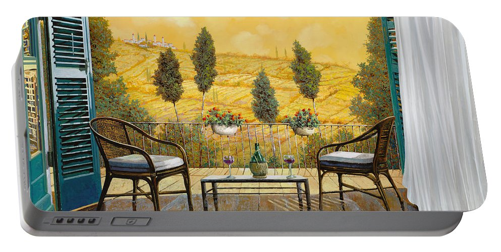 Terrace Portable Battery Charger featuring the painting due bicchieri di Chianti by Guido Borelli