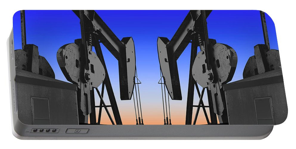 Oil Gas Industry Pump Jack Well Oilfield American America Blue Black Production Platform Drilling Rig Geology Exploration Pipeline Refining Up Down Mid Stream Abstract Petroleum Petrochemical Gas Drill Driller Technology Digital Manipulation Texas Men Decor Art Fine Office Industrial Wells Pumps Graphic Photograph Photo Image Arty Oilwell Offshore Energy Pumpjack Barrel Art Crude Oilman Toolpusher Portable Battery Charger featuring the photograph Dueling Oil Well Pumps by Dennis Thompson