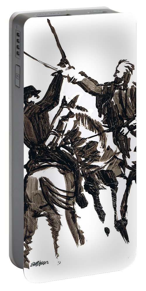Civil War Portable Battery Charger featuring the drawing Dueling Sabres by Seth Weaver