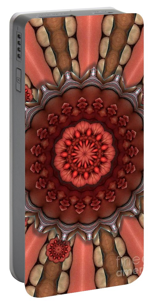 Abstract Portable Battery Charger featuring the digital art Dumpster To Lily Pads by Ron Bissett