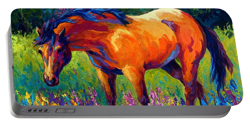 Horses Portable Battery Charger featuring the painting Dun Mare by Marion Rose