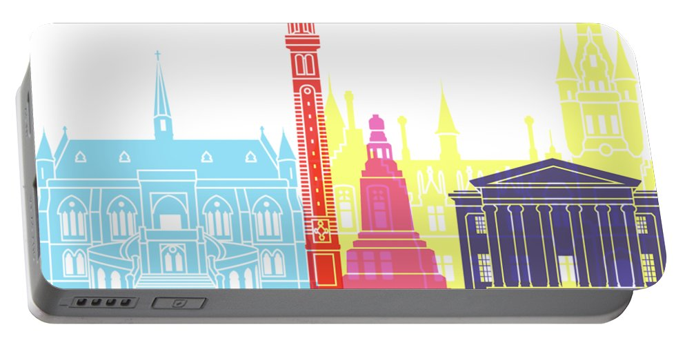 Dundee Portable Battery Charger featuring the painting Dundee Skyline Pop by Pablo Romero