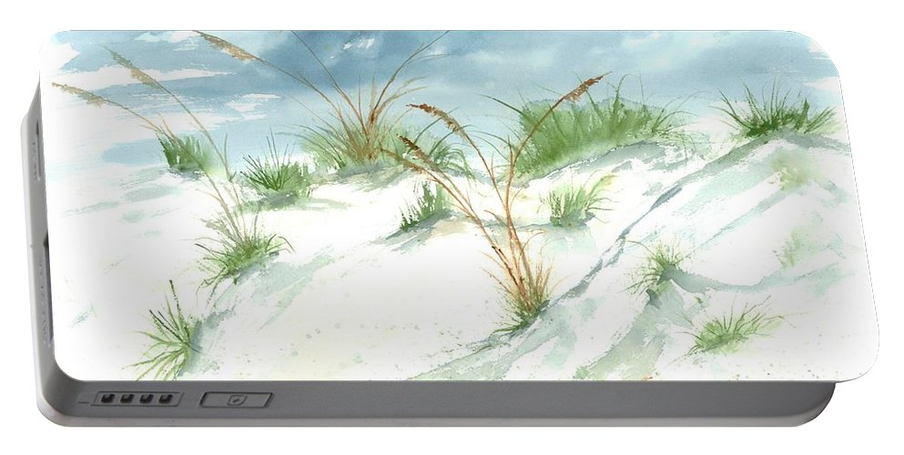 Beach Portable Battery Charger featuring the painting Dunes 3 seascape beach painting print by Derek Mccrea