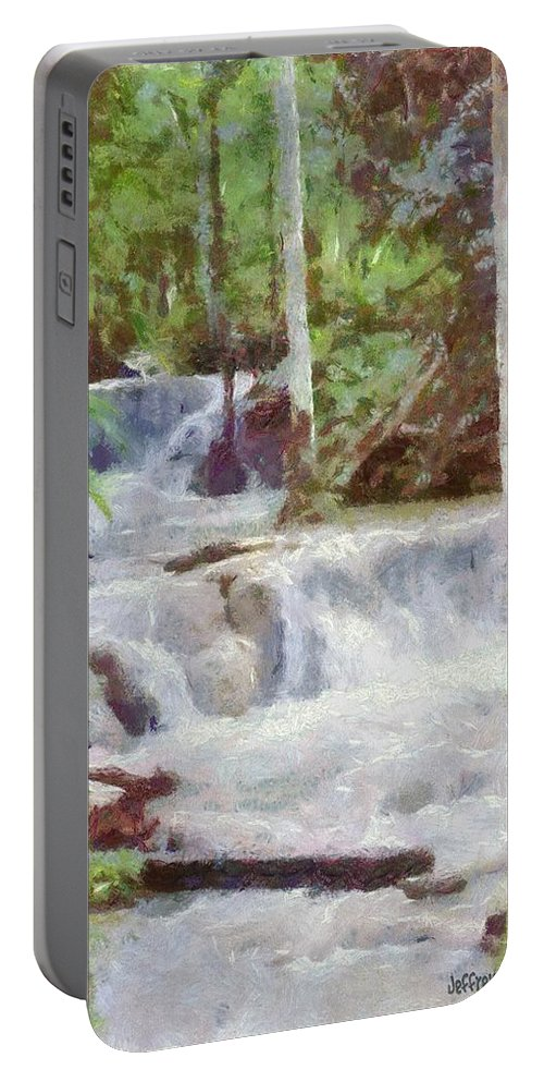 Dunn River Portable Battery Charger featuring the painting Dunn River Falls by Jeffrey Kolker