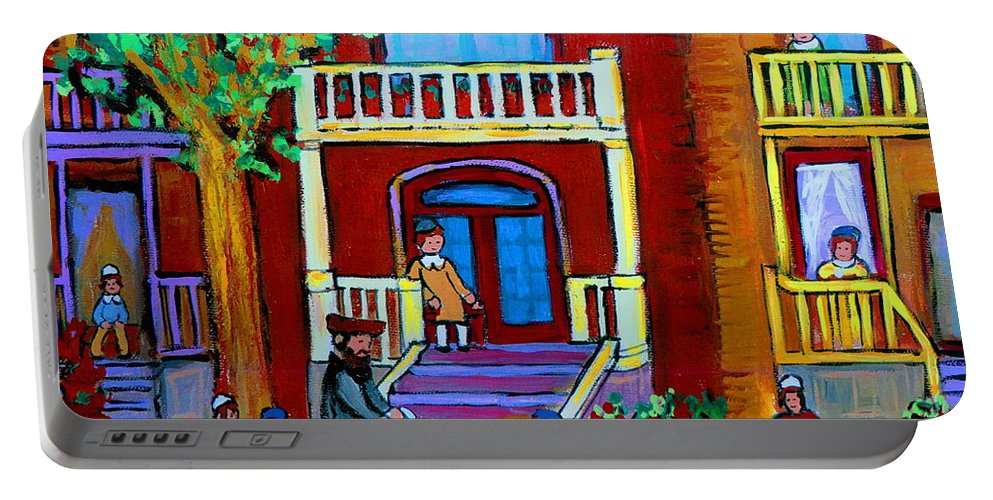 Judaica Portable Battery Charger featuring the painting Durocher Street Montreal by Carole Spandau
