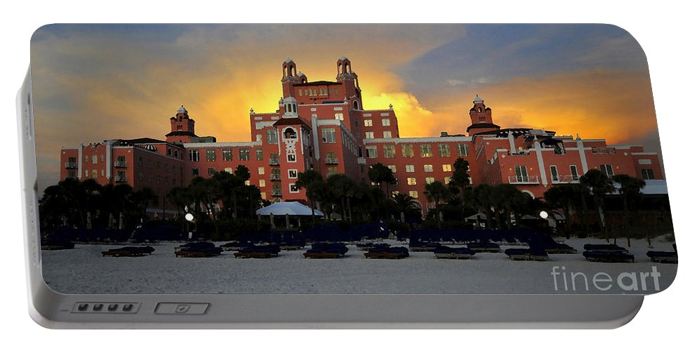 Don Cesar Hotel Florida Portable Battery Charger featuring the painting Dusk Over Don by David Lee Thompson