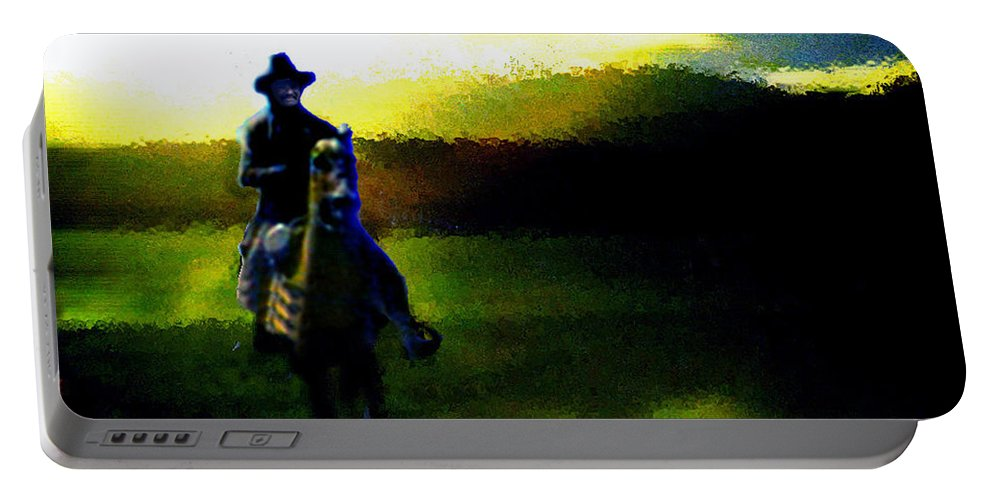 Dusk Portable Battery Charger featuring the digital art Dusk Rider by Seth Weaver