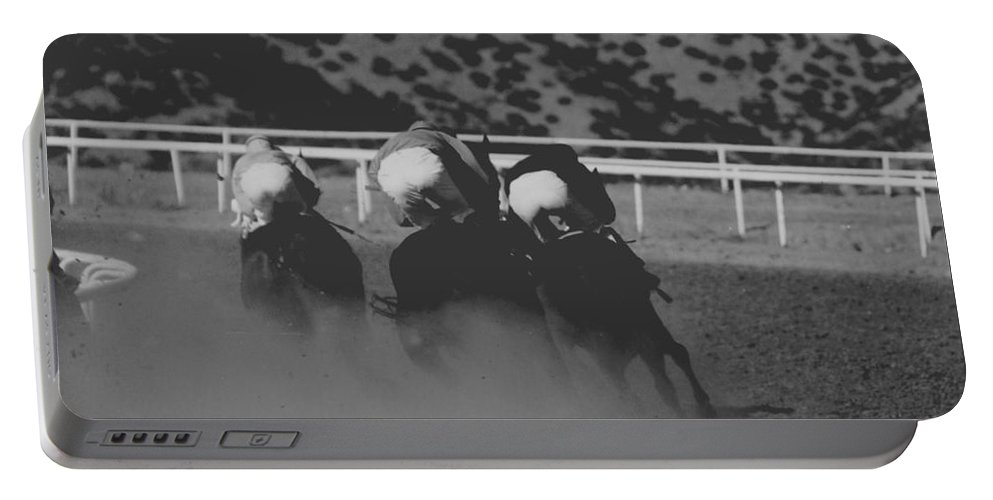 Horse Portable Battery Charger featuring the photograph Dust And Butts by Kathy McClure