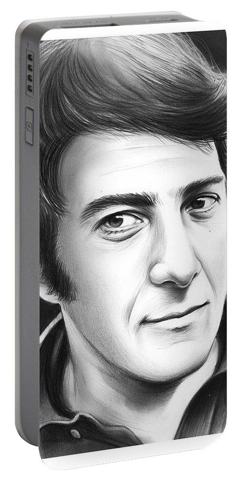 Dustin Hoffman Portable Battery Charger featuring the drawing Dustin Hoffman by Greg Joens
