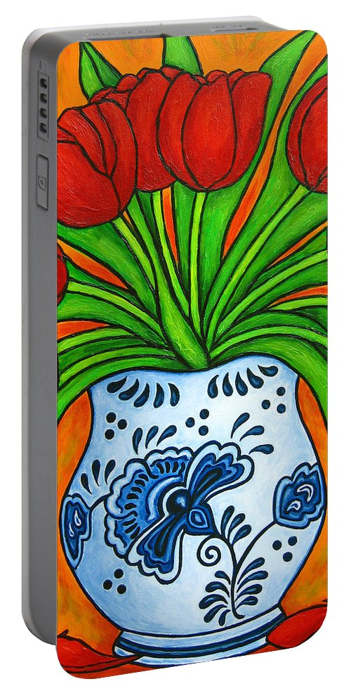 White Portable Battery Charger featuring the painting Dutch Delight by Lisa Lorenz