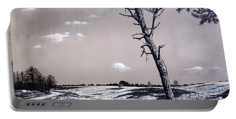 Duotone Portable Battery Charger featuring the painting Dutch Heathland by Arie Van der Wijst