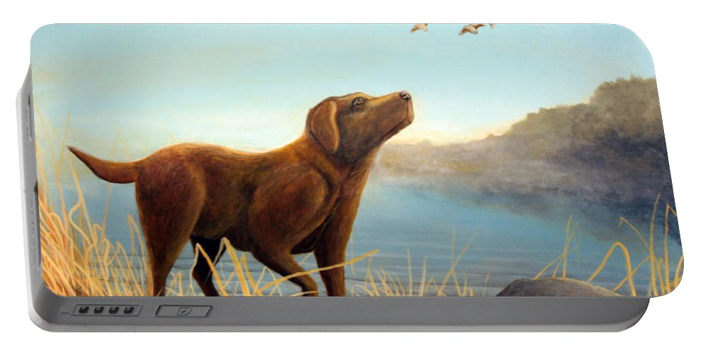 Chocolate Lab Painting Portable Battery Charger featuring the Dutch by Rick Huotari