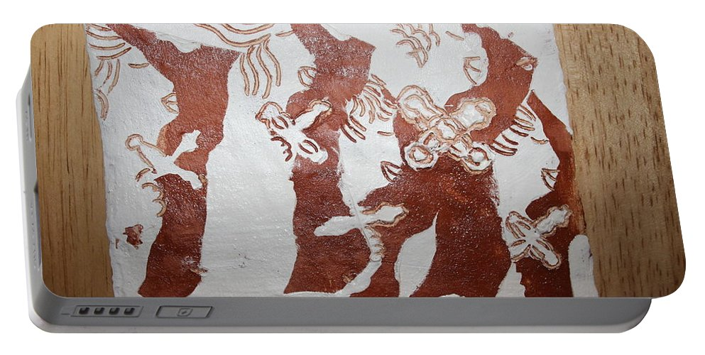 Tilesjesus Elohimplaquesmamamama Africa Twojesus Portable Battery Charger featuring the ceramic art Duty 3 by Gloria Ssali