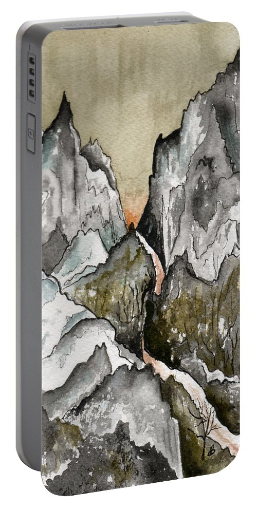 Landscape Portable Battery Charger featuring the painting Dwimorberg   The Haunted Mountain by Brenda Owen