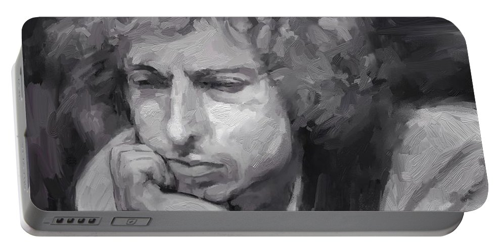 Bob Dylan Music Portrait Musician Rock Portable Battery Charger featuring the digital art Dylan by Scott Waters
