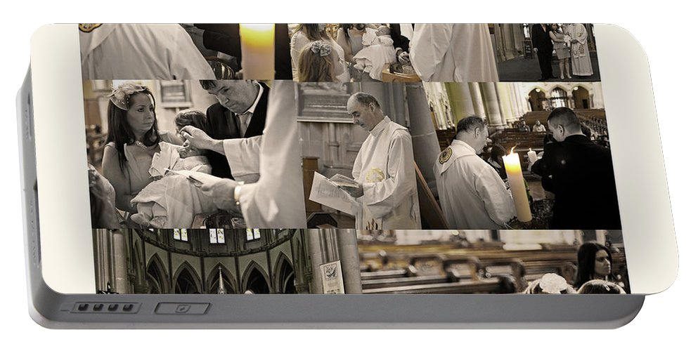 Christening Portable Battery Charger featuring the photograph Dylan's Christening Day V3 by Alex Art and Photo