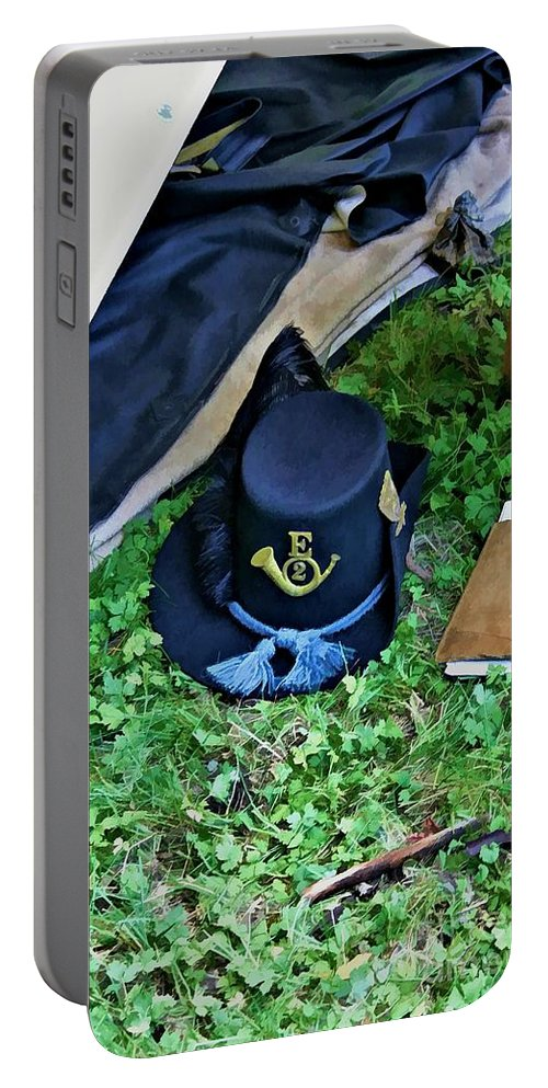 2nd Wisconsin Portable Battery Charger featuring the digital art E Company Black Hat by Tommy Anderson