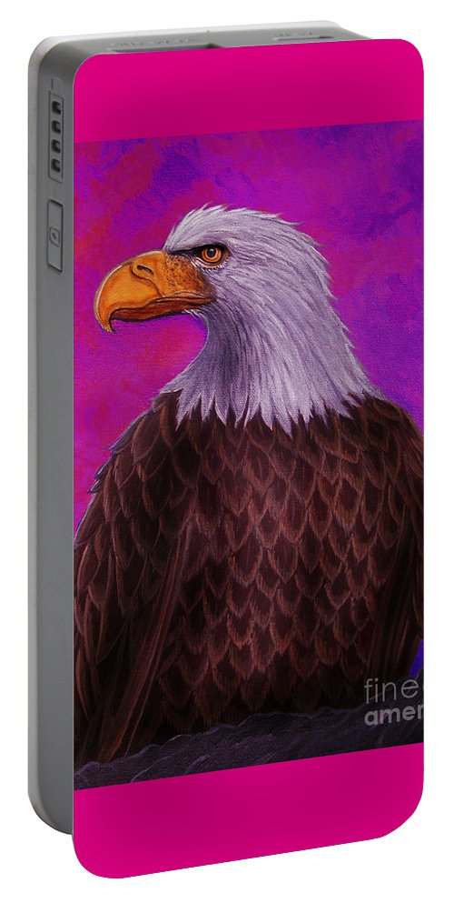 Eagle Portable Battery Charger featuring the painting Eagle Crimson Skies by Nick Gustafson