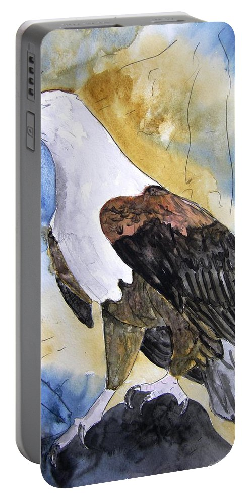 Realistic Portable Battery Charger featuring the painting Eagle by Derek Mccrea