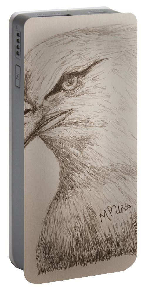 Eagle Drawing 1 Portable Battery Charger featuring the drawing Eagle Drawing 1 by Maria Urso