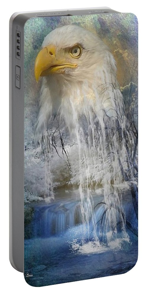 Fantasy Portable Battery Charger featuring the digital art Eagle Falls by Ali Oppy