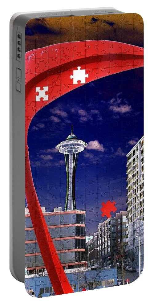 Seattle Portable Battery Charger featuring the digital art Eagle Needle by Tim Allen