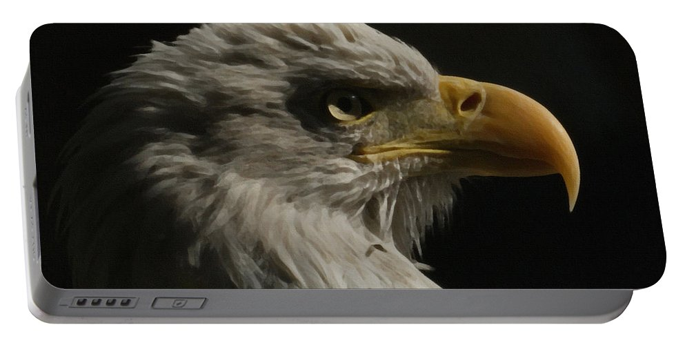 Animal Portable Battery Charger featuring the digital art Eagle Profile 3 by Ernie Echols