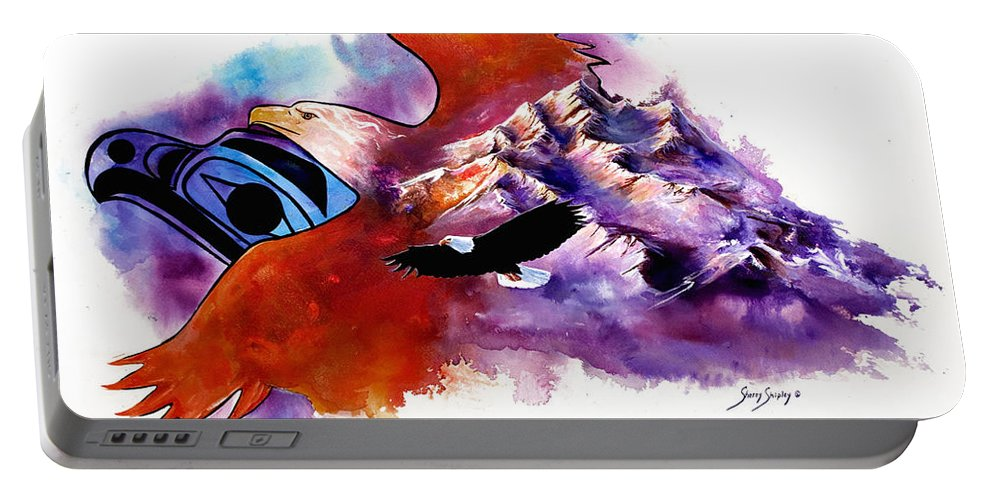 Bird Portable Battery Charger featuring the painting Eagle Rise by Sherry Shipley