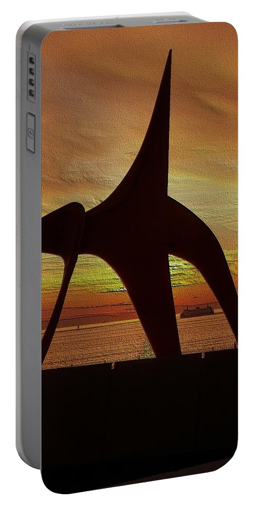 Seattle Portable Battery Charger featuring the digital art Eagle Sunset Over Elliott Bay by Tim Allen