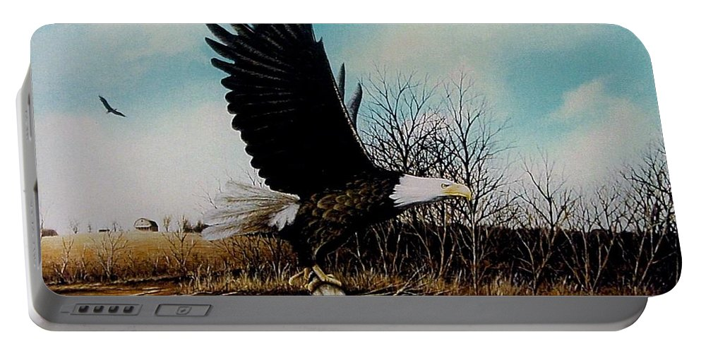 Eagle Portable Battery Charger featuring the painting Eagle With Decoy by Anthony J Padgett