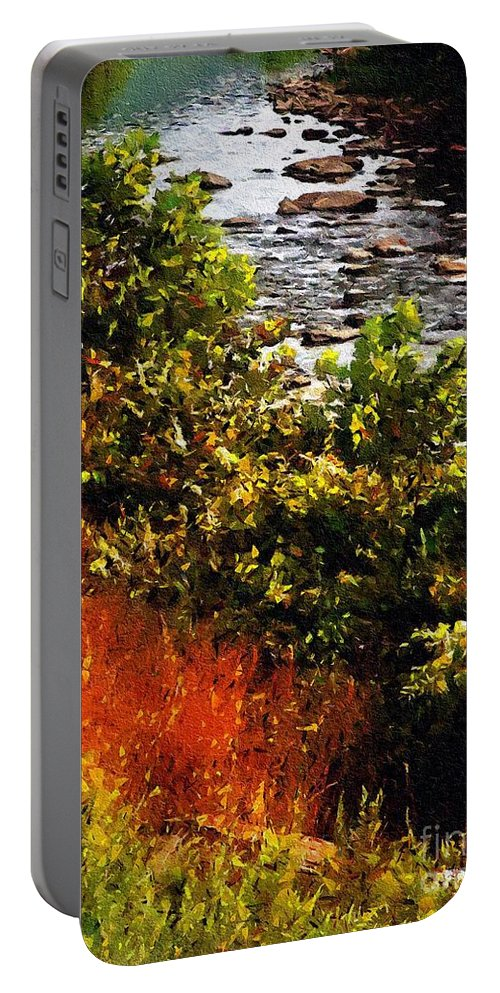River Portable Battery Charger featuring the painting Early Autumn Along The Naugatuck by RC DeWinter