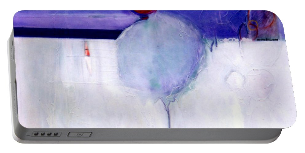 Abstract Portable Battery Charger featuring the painting Early Blob 1 Optic Illusion by Marlene Burns