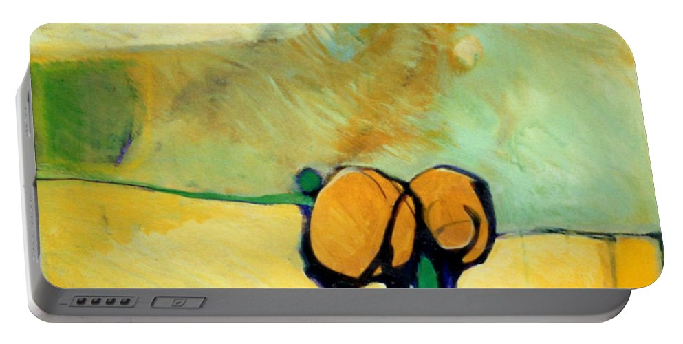 Abstract Portable Battery Charger featuring the painting Early Blob 2 Jump Rope by Marlene Burns