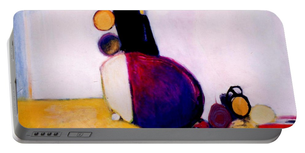 Abstract Portable Battery Charger featuring the painting Early Blob Having A Ball by Marlene Burns