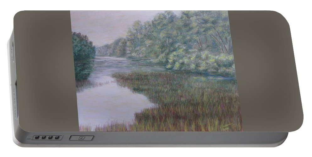 Pastel Portable Battery Charger featuring the pastel Early Fall Serenity by Joann Renner