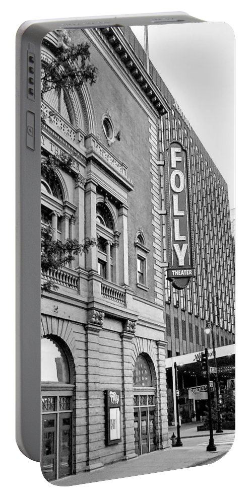 Folly Theater Portable Battery Charger featuring the photograph Early Morning At The Folly B/w by Linda Benoit
