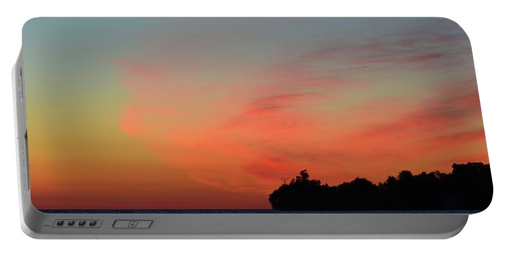Abstract Portable Battery Charger featuring the photograph Early Morning Clouds by Lyle Crump