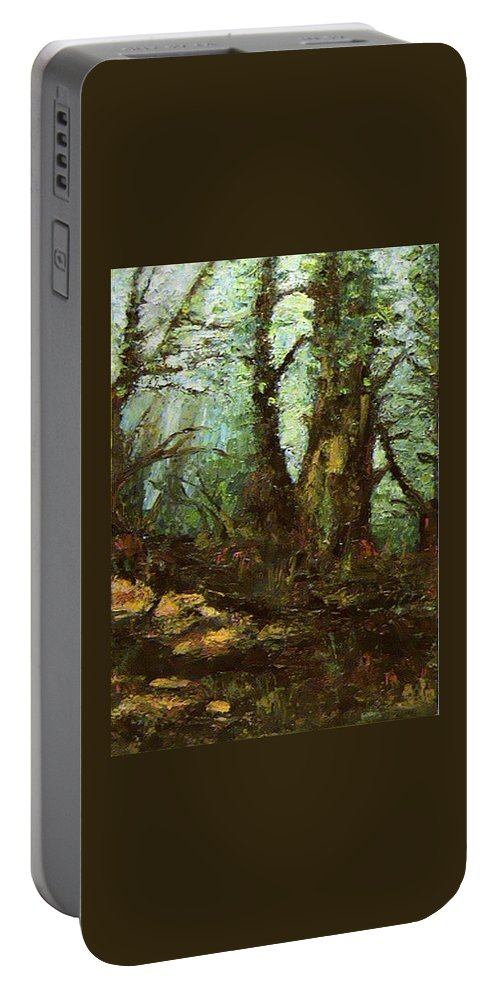 Landscape Portable Battery Charger featuring the painting Early Morning In The Forest by Ioulia Sotiriou