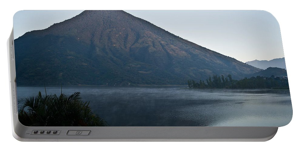 Volcano Portable Battery Charger featuring the photograph Early Morning Mist Lake Atitlan Guatemala by Douglas Barnett