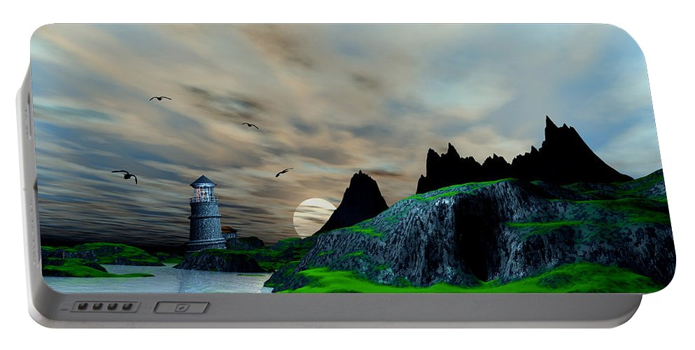 Portable Battery Charger featuring the digital art Early Morning Ocean Lighthouse Scene by John Junek