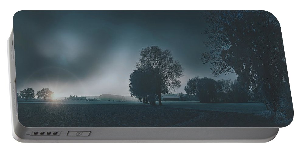 Sunrise Portable Battery Charger featuring the photograph Early Morning On The Farm by Pixabay