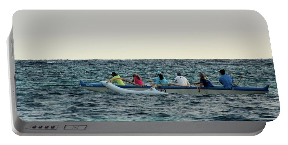 Boat Portable Battery Charger featuring the photograph Early Morning Outing by Carolyn Ricks