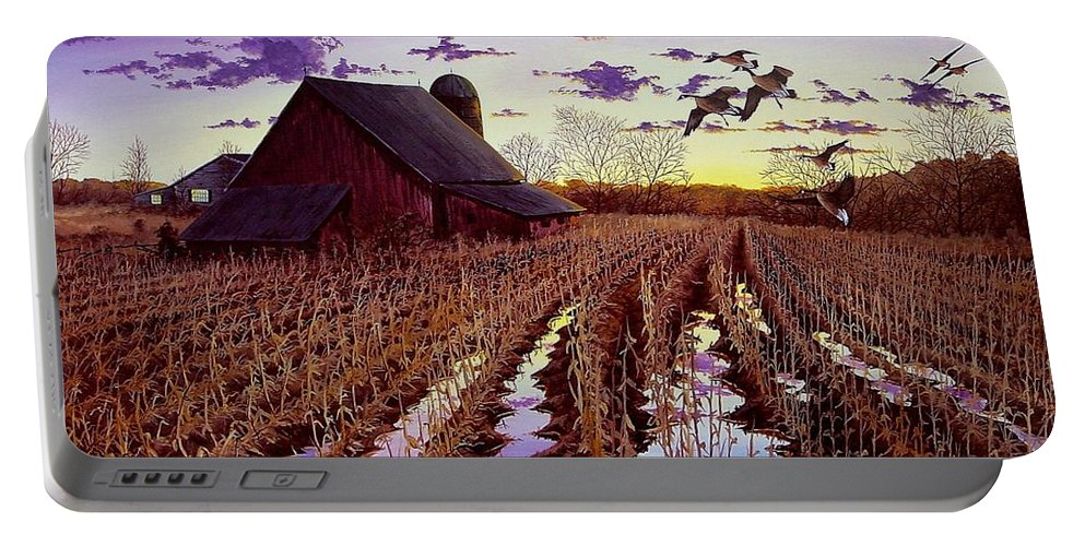 Canadian Geese Portable Battery Charger featuring the painting Early Return by Anthony J Padgett