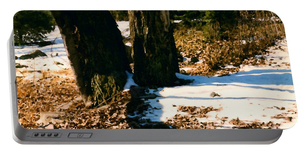Winter Portable Battery Charger featuring the painting Early Snow by Paul Sachtleben