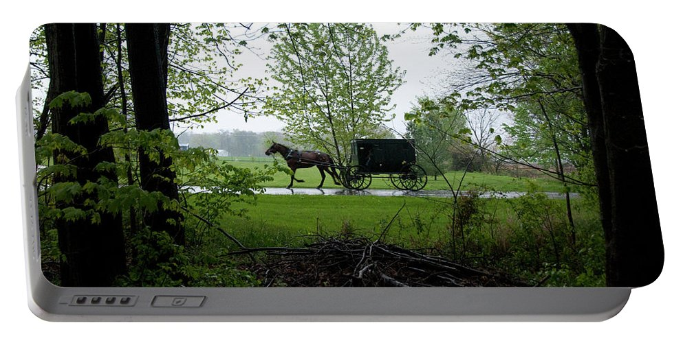 Amish Portable Battery Charger featuring the photograph Early Spring Buggy by David Arment