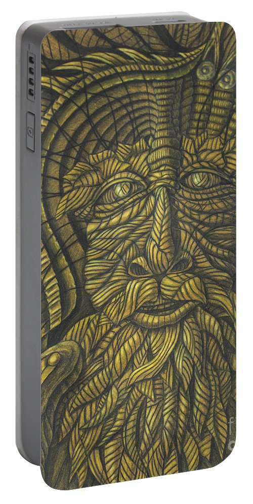 Fine Art Portable Battery Charger featuring the drawing Earth Warrior by Scott Brennan