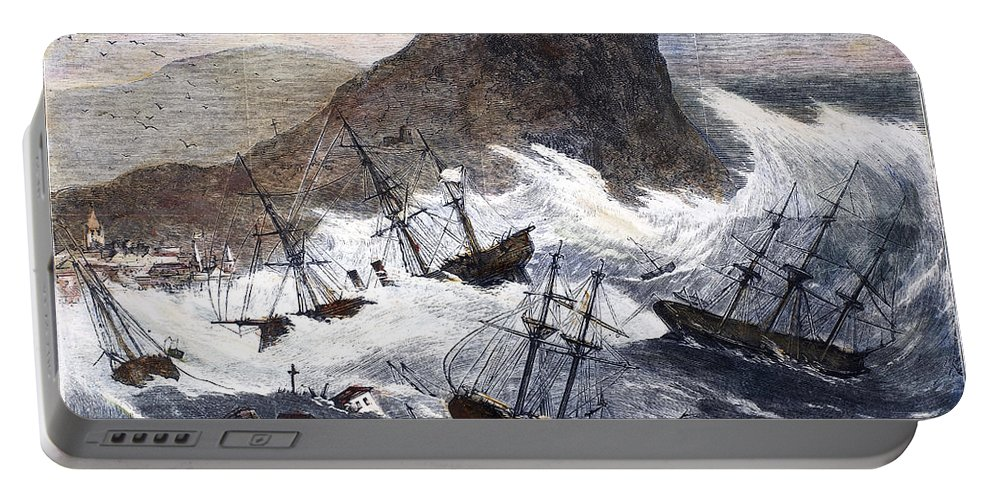 1868 Portable Battery Charger featuring the photograph Earthquake And Tidal Wave by Granger